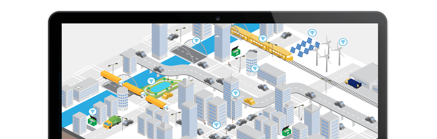 Smart City WiFi Network of IoT, Solar Panels, Waste Management, Traffic Congestion, Monitoring and many more.